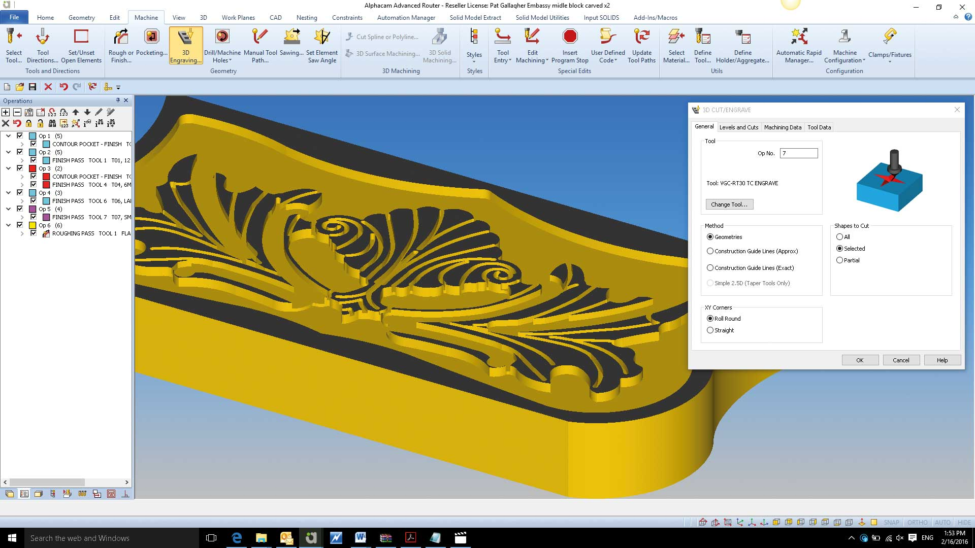 ImageGrafix Software FZCO - AlphaCAM Adavance Router 3D Cut Screen Overview