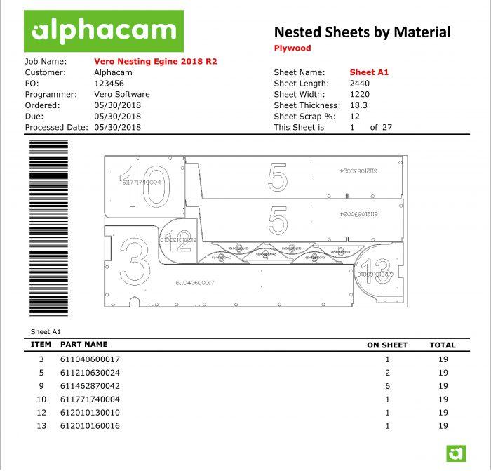ImageGrafix Software FZCO - AlphaCAM Nested Sheet Report
